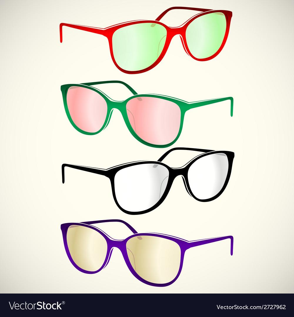 Retro sun glasses summer plastic lens color vector | Price: 1 Credit (USD $1)
