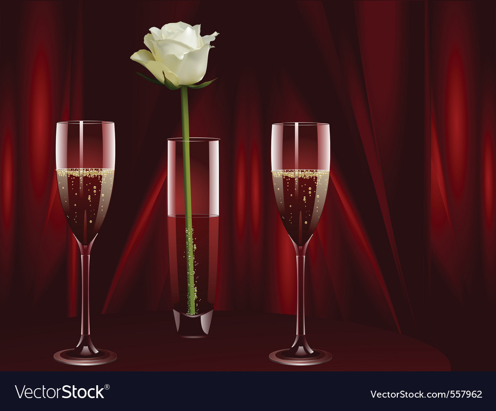 Rose and champagne vector | Price: 3 Credit (USD $3)