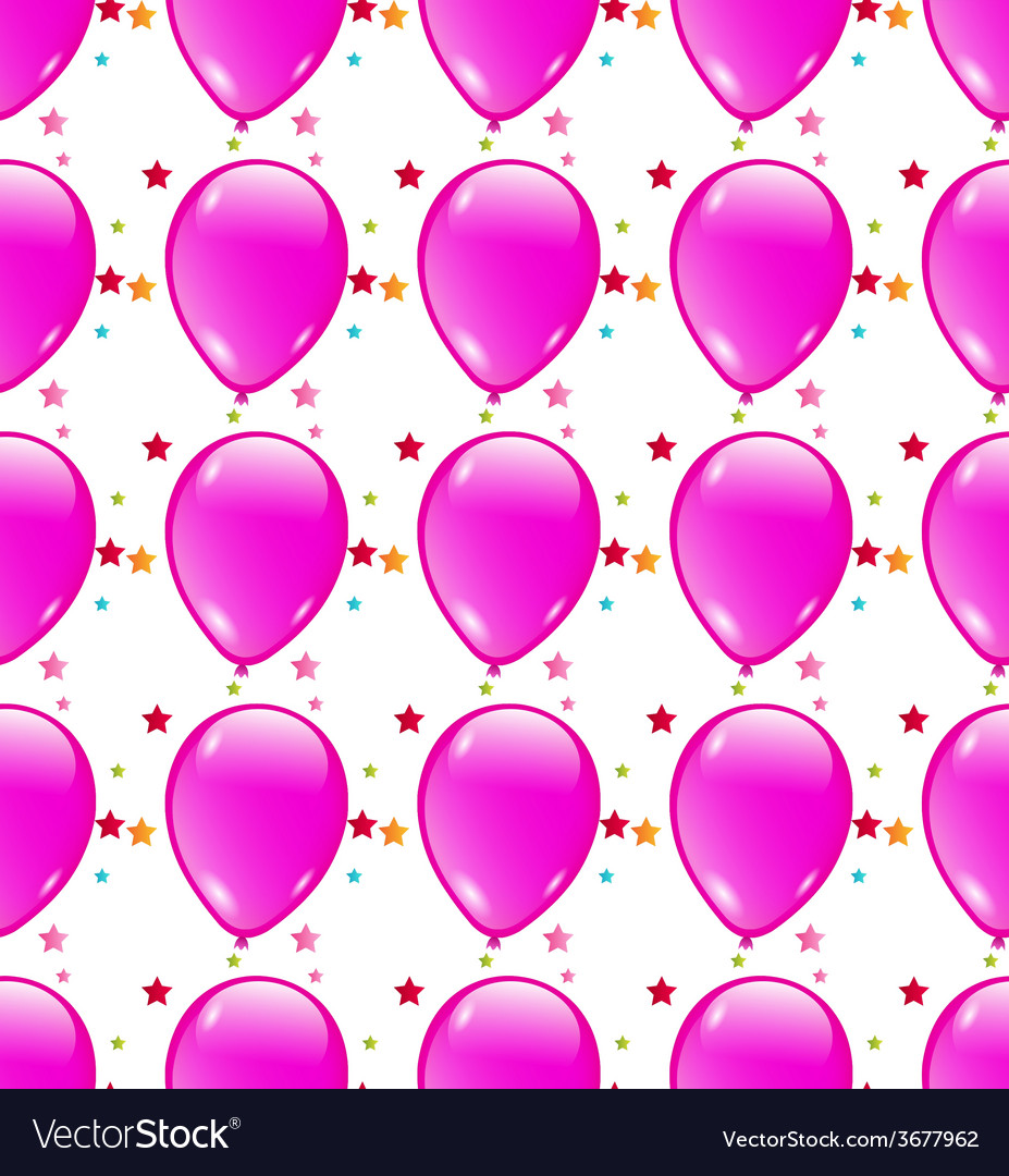 Seamless background with party balloons of pink vector | Price: 1 Credit (USD $1)