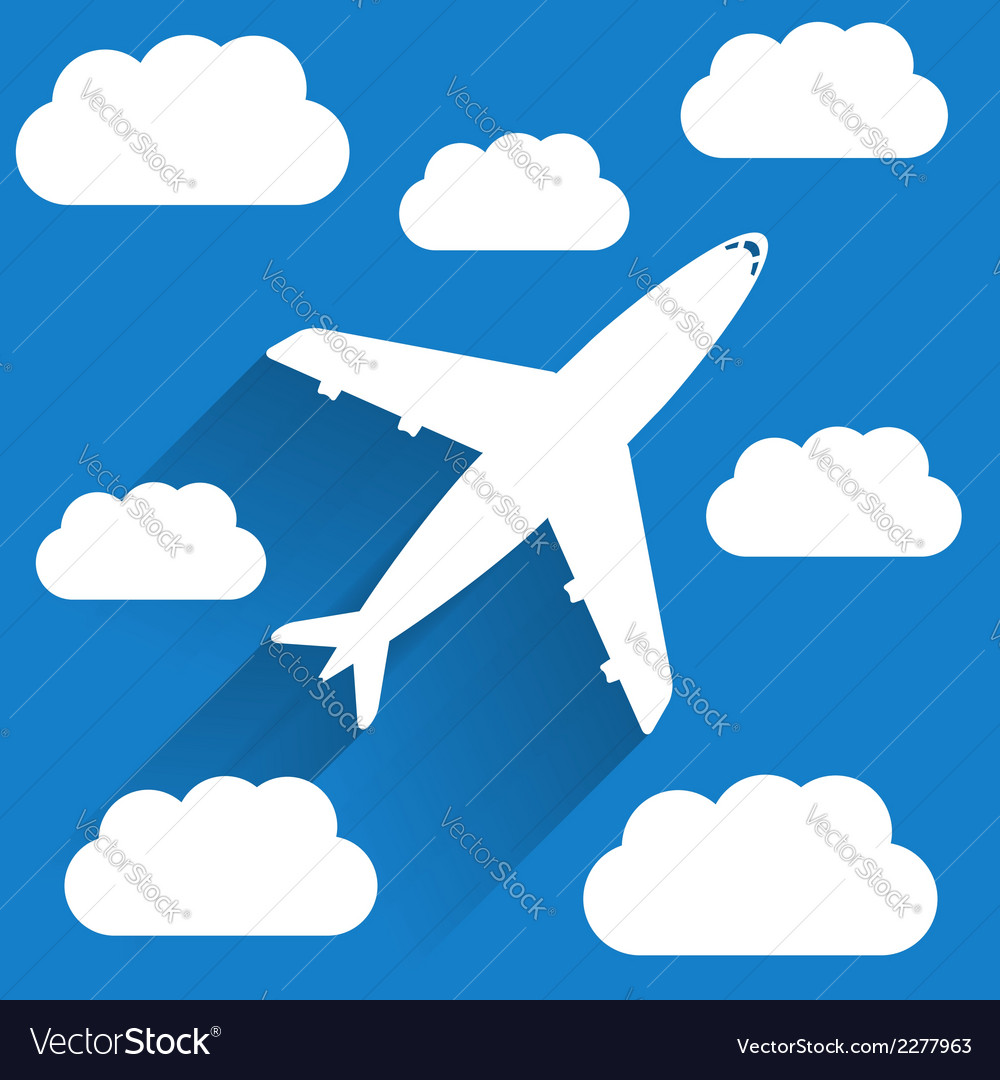 Airplane in sky vector | Price: 1 Credit (USD $1)