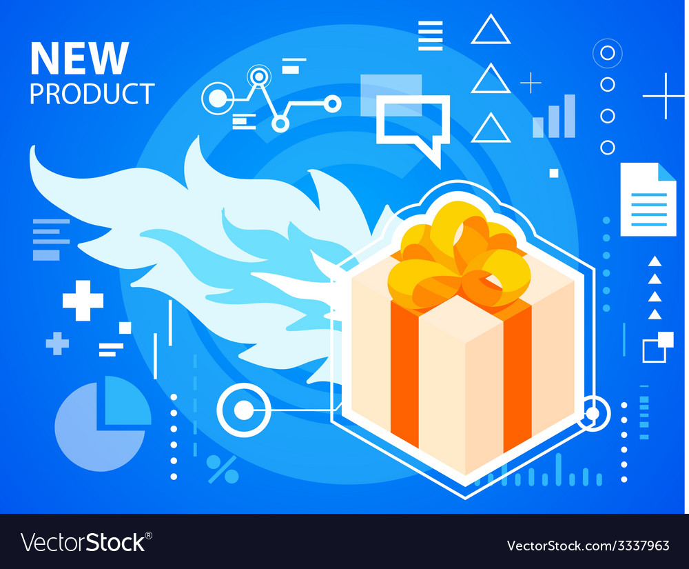 Bright fire and gift box with bow on blue ba vector | Price: 3 Credit (USD $3)