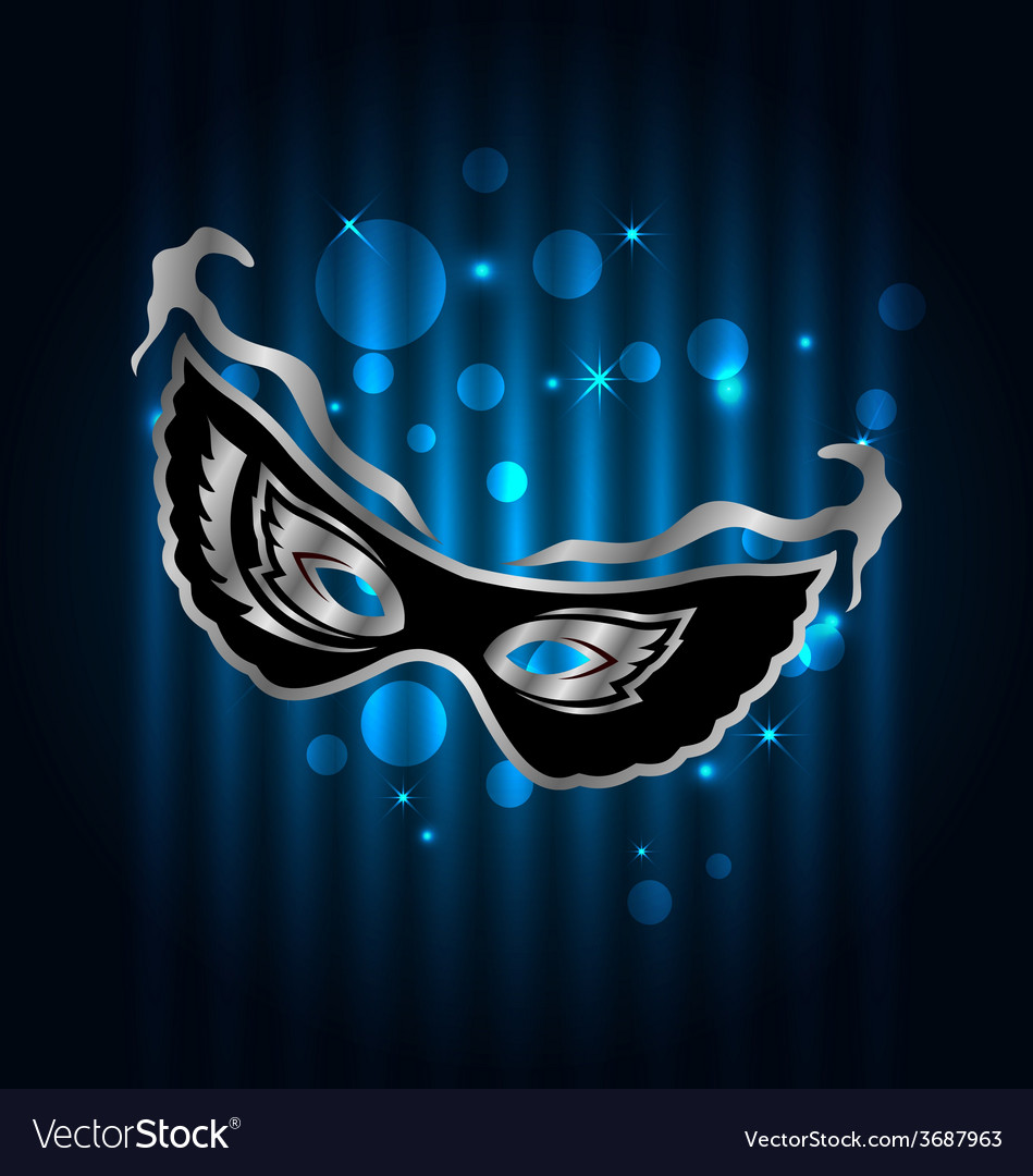 Carnival ornate mask on blue glowing background - vector