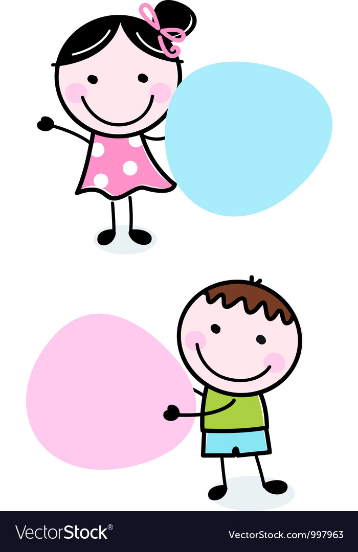 Doodle boy and girl holding blank banners vector | Price: 1 Credit (USD $1)