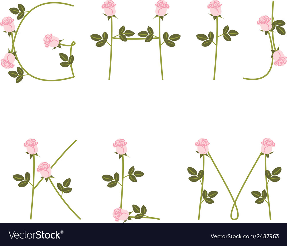 Floral alphabet pink roses from g to m vector   Price: 1 Credit (USD $1)