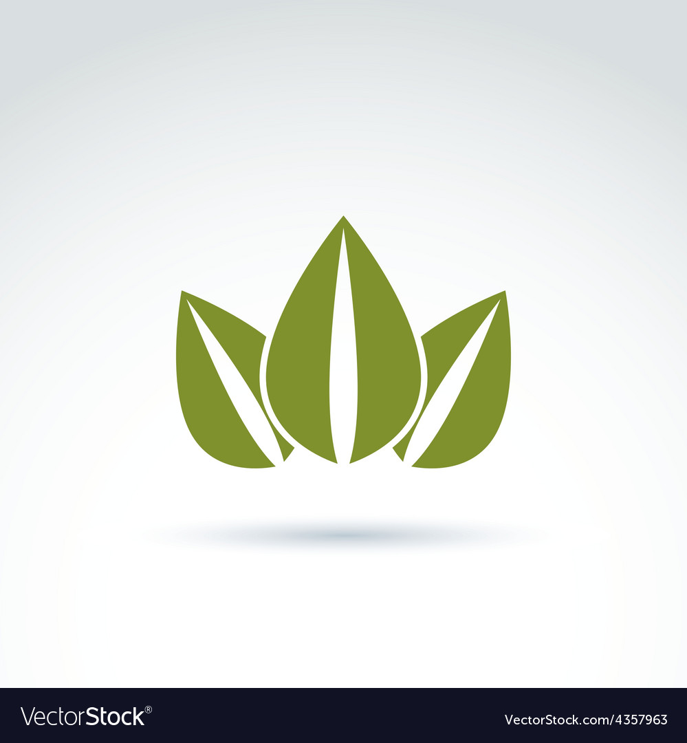 Green crown created from three leaves ecology vector | Price: 1 Credit (USD $1)