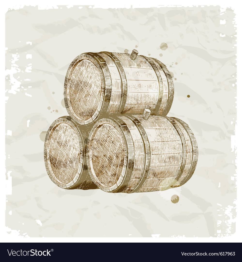 Hand drawn wooden barrels vector | Price: 1 Credit (USD $1)