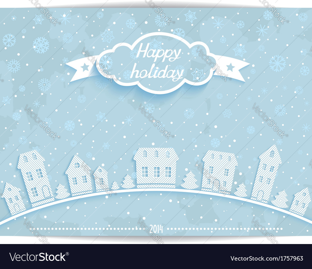 Happy holiday card with white paper town vector | Price: 1 Credit (USD $1)