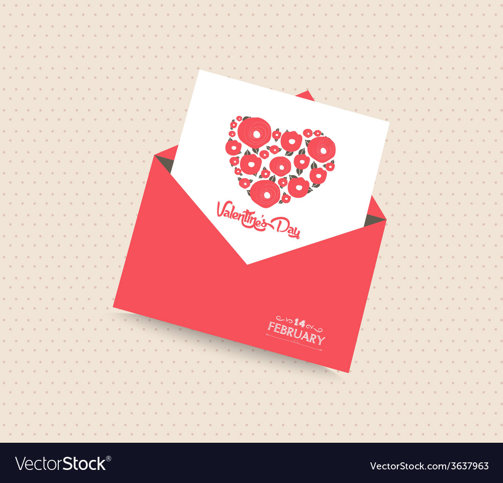 Happy valentines day with envelope heart vector