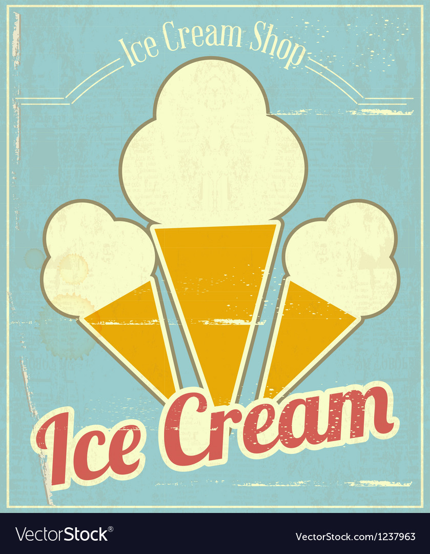 Ice cream vanilla card vector | Price: 1 Credit (USD $1)