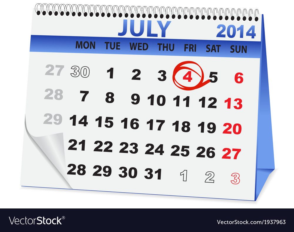 Icon calendar for july 4 vector   Price: 1 Credit (USD $1)