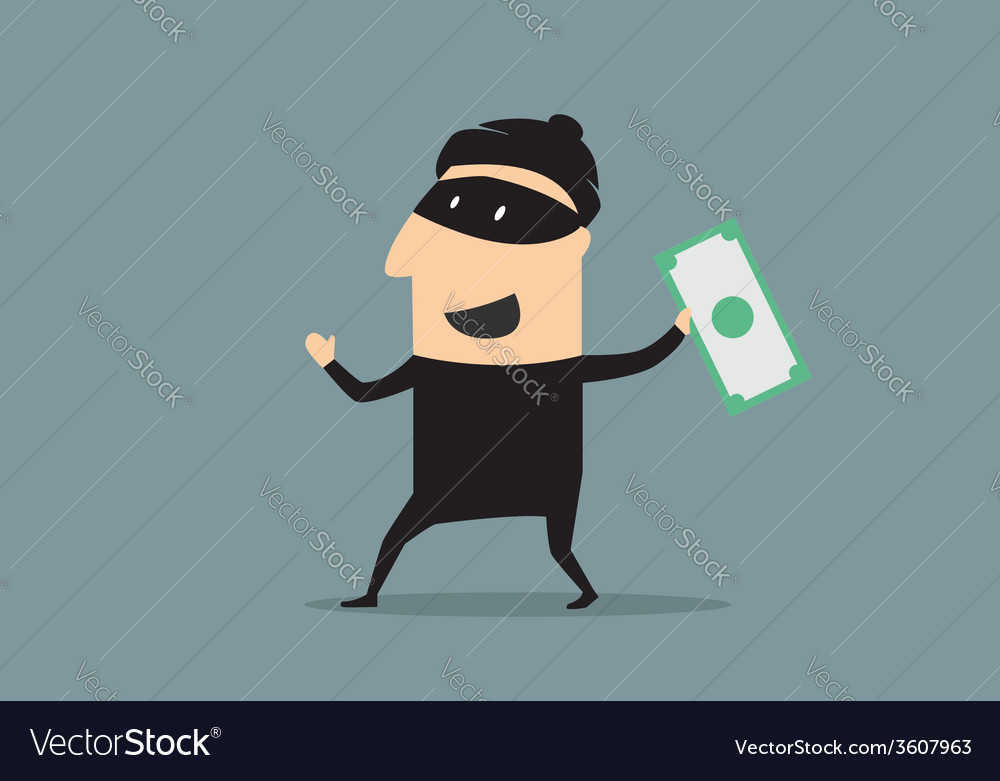 Masked thief with money in cartoon style vector | Price: 1 Credit (USD $1)