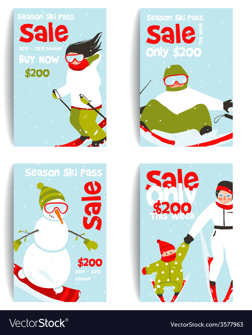 Mountain skier colorful winter sport flyer design vector | Price: 1 Credit (USD $1)