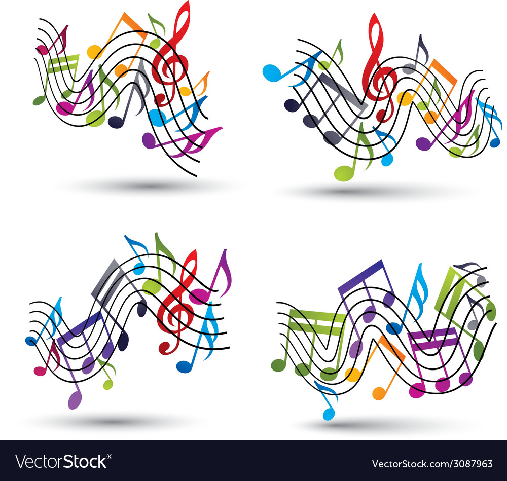 Music notes staff abstract compositions vector | Price: 1 Credit (USD $1)