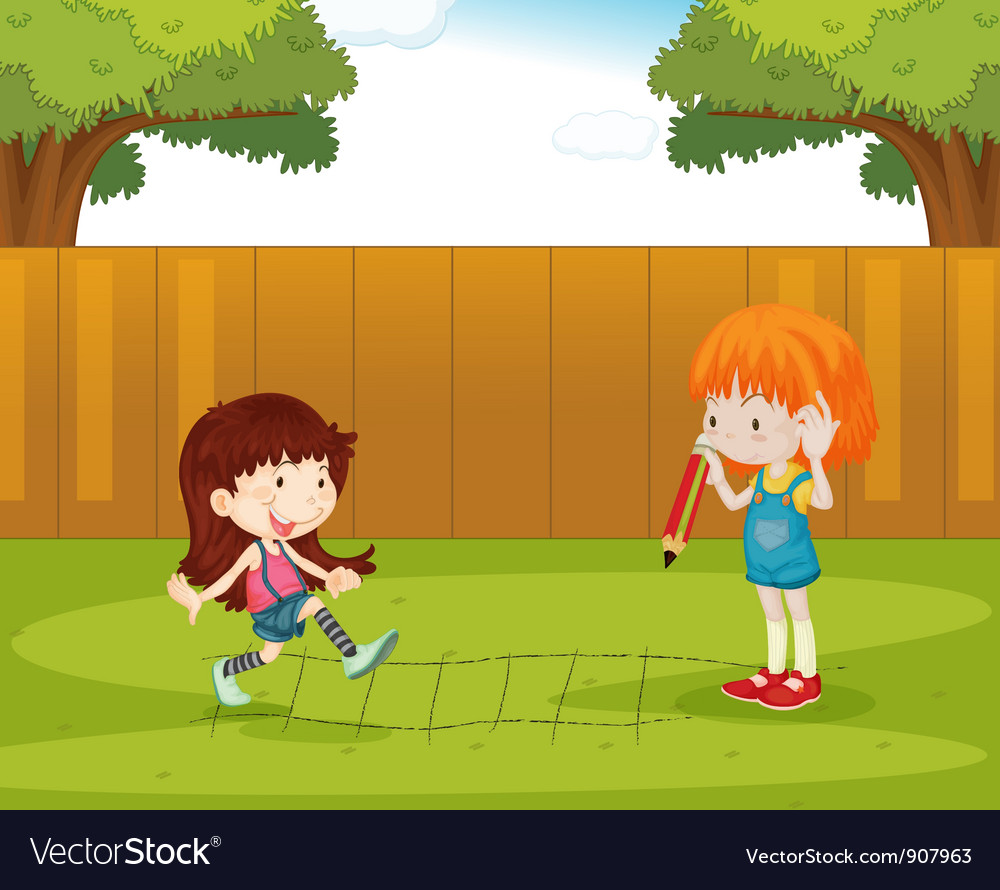 Playing in the backyard vector | Price: 3 Credit (USD $3)