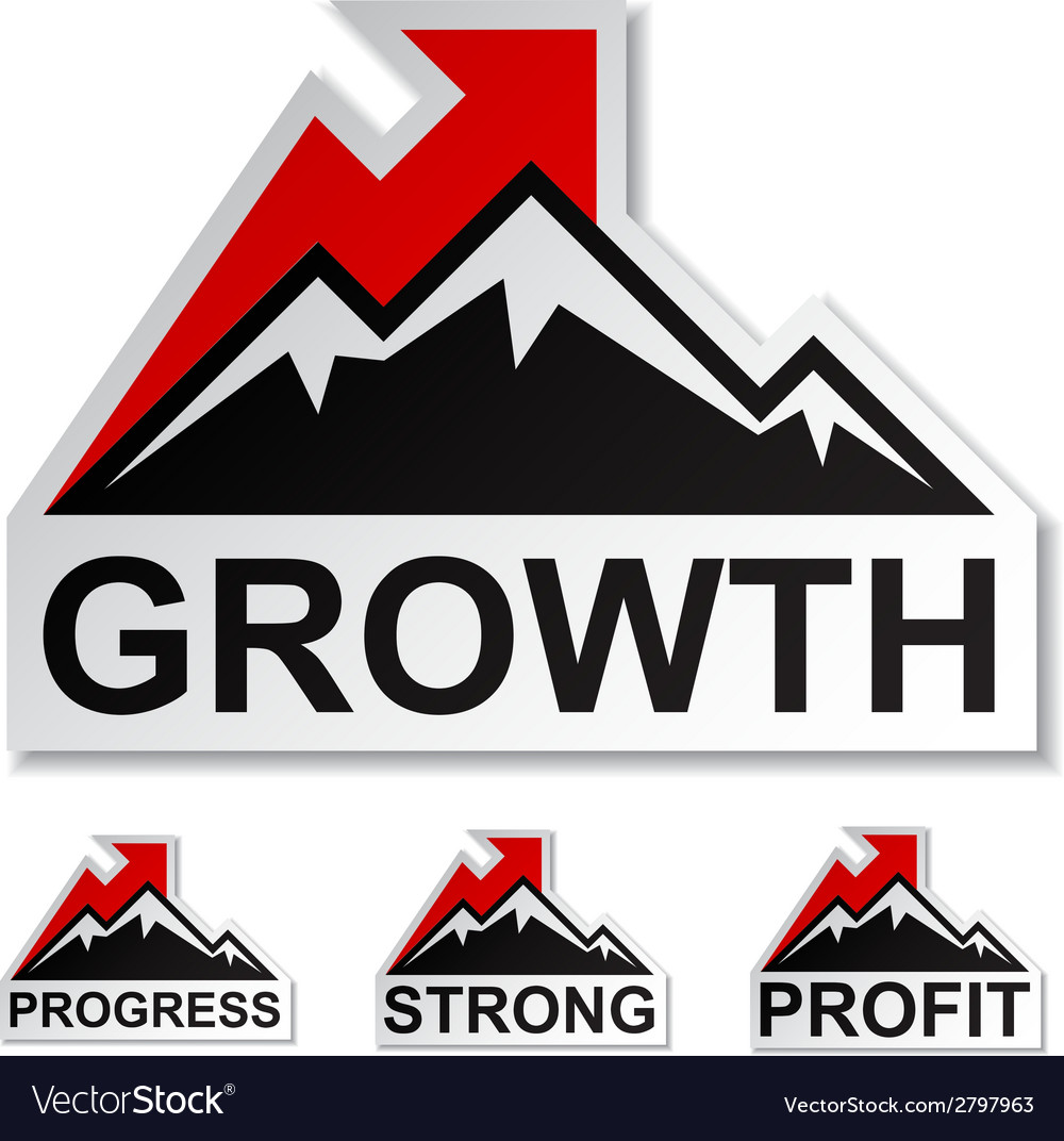 Profit growth winter mountain stickers vector | Price: 1 Credit (USD $1)