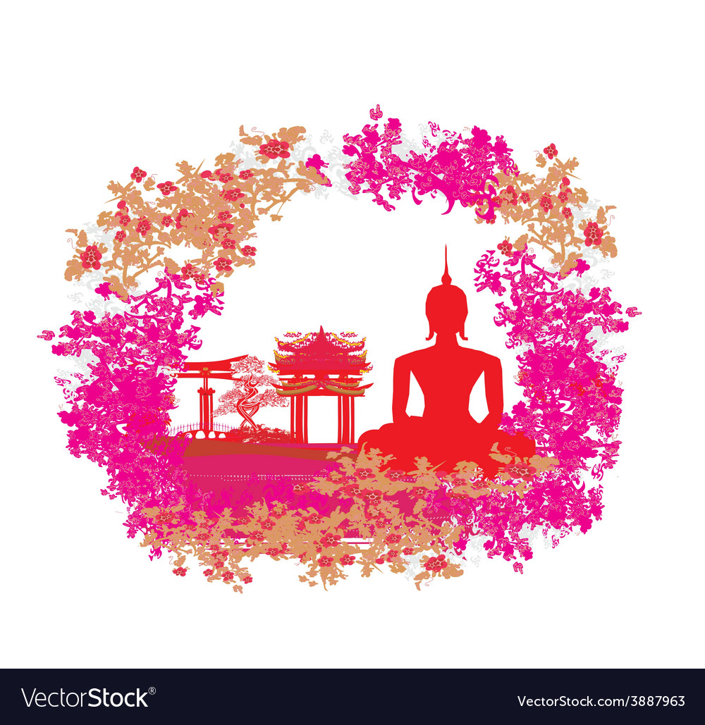 Silhouette of a buddhaasian landscape in grunge vector | Price: 1 Credit (USD $1)