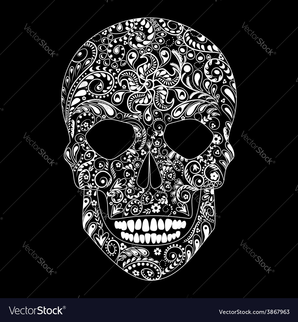 White floral skull vector | Price: 1 Credit (USD $1)