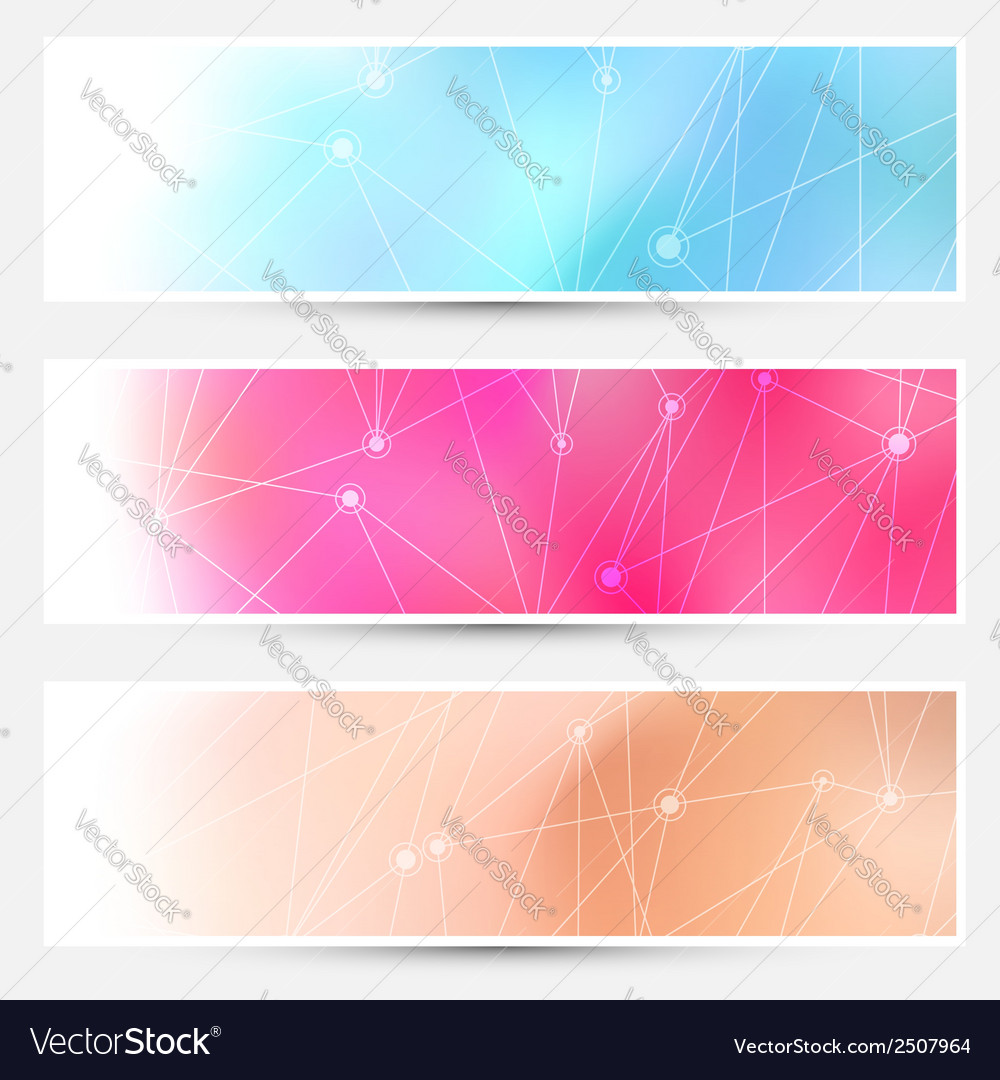 Bright molecule connection cards set vector | Price: 1 Credit (USD $1)