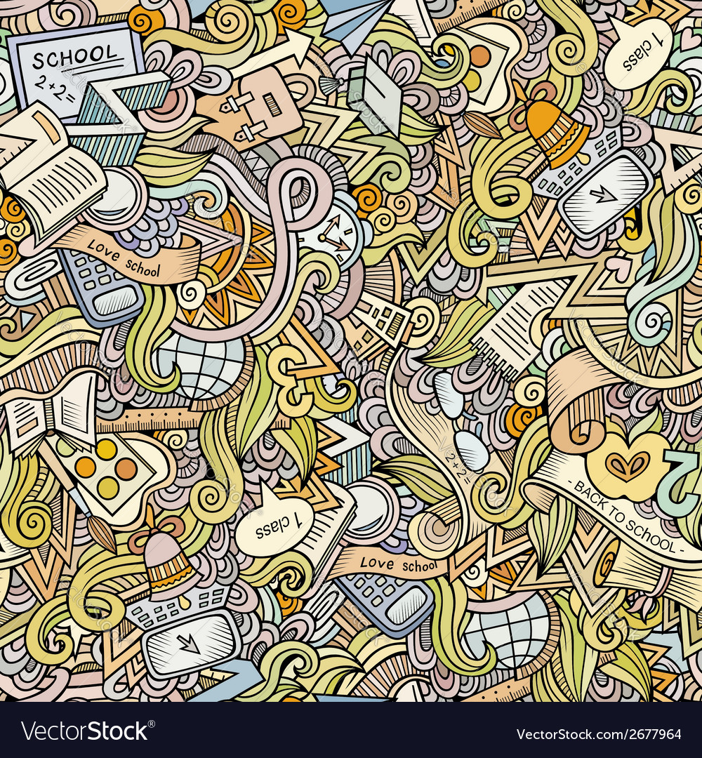 Cartoon doodles school seamless pattern vector | Price: 1 Credit (USD $1)