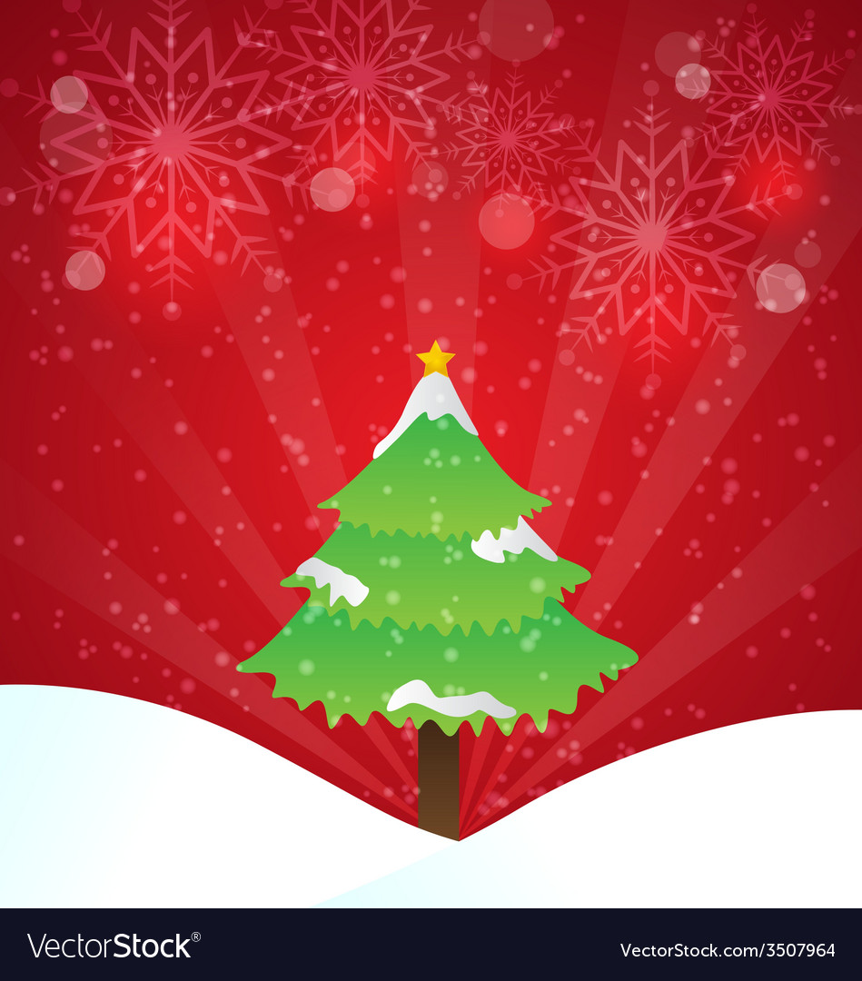 Christmas tree with red background and snowflakes vector | Price: 1 Credit (USD $1)