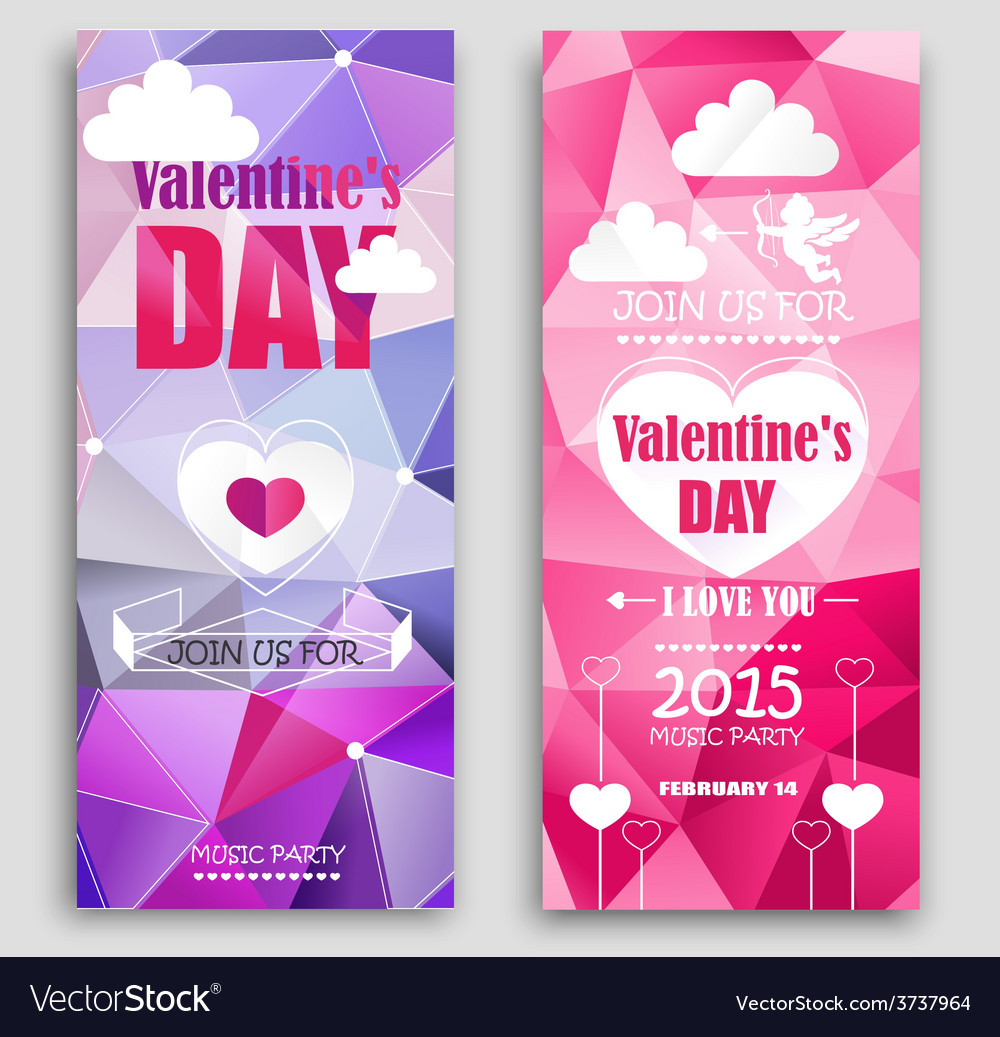 Colored banners for valentines day vector | Price: 1 Credit (USD $1)
