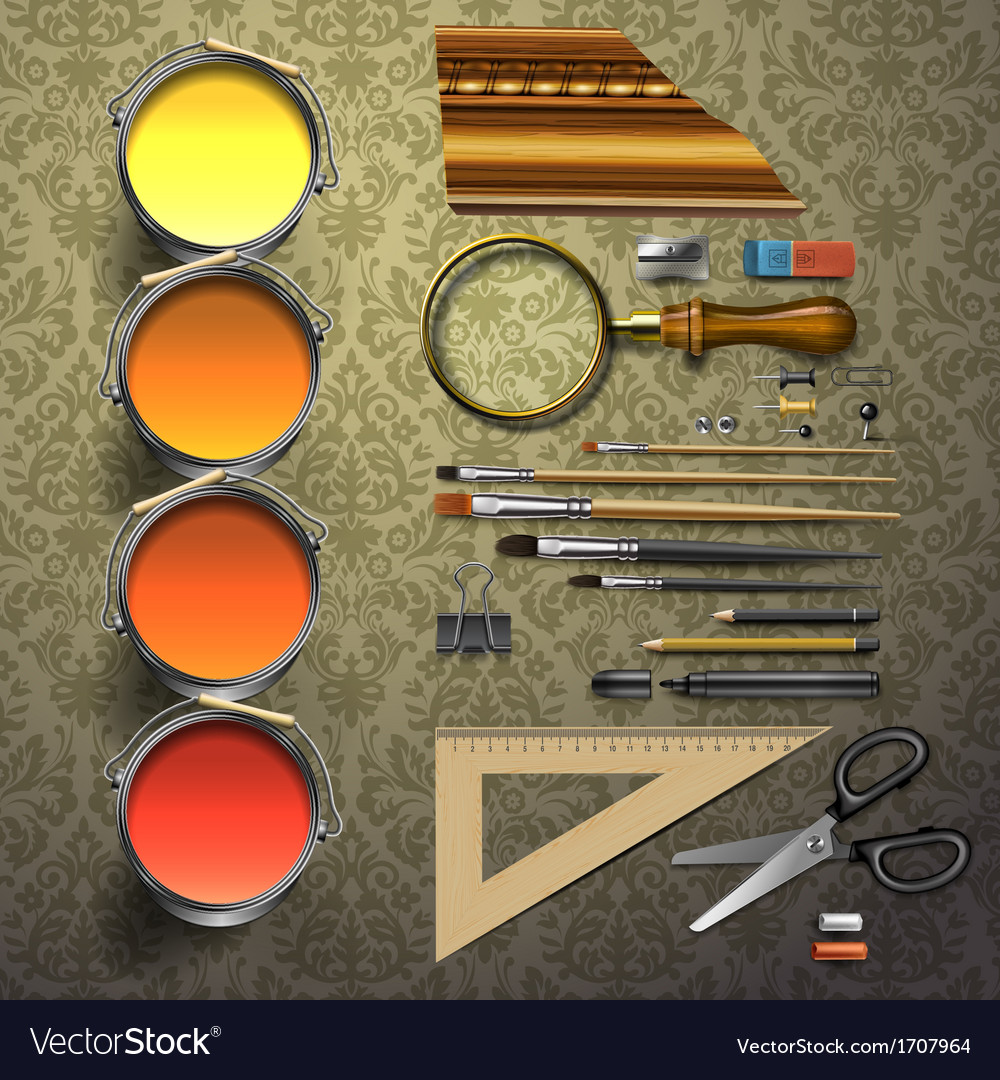 Group art supplies vector | Price: 1 Credit (USD $1)