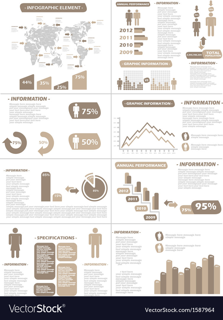 Infographic demographics new style brown vector | Price: 1 Credit (USD $1)
