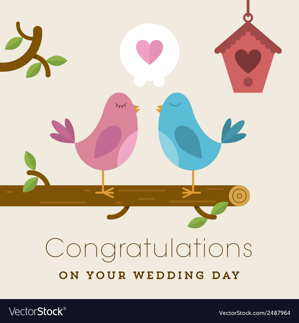 Love birds on a branch wedding card vector | Price: 1 Credit (USD $1)