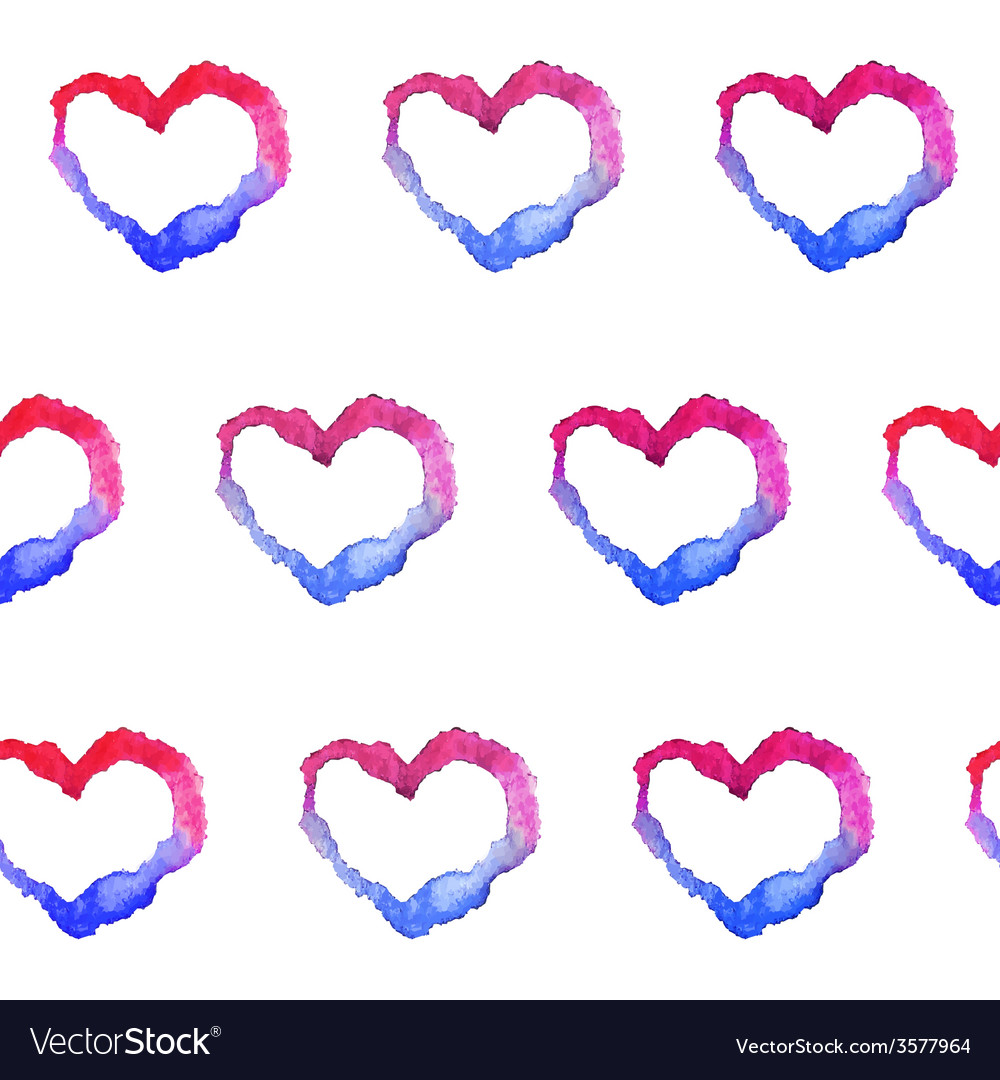 Watercolor gradient hearts seamless pattern vector | Price: 1 Credit (USD $1)