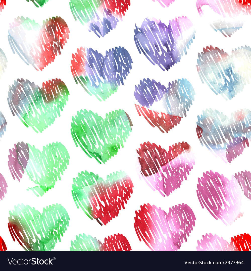 Watercolor hearts seamless pattern on white vector | Price: 1 Credit (USD $1)