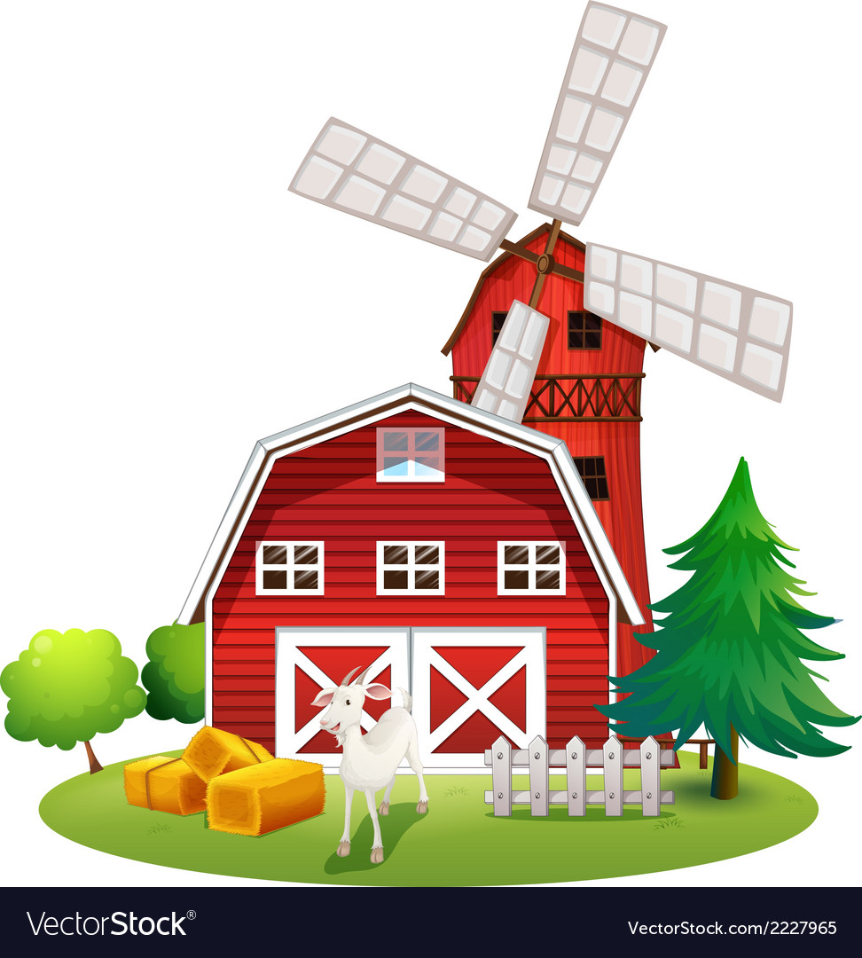 A farm with a red house and a windmill vector | Price: 1 Credit (USD $1)