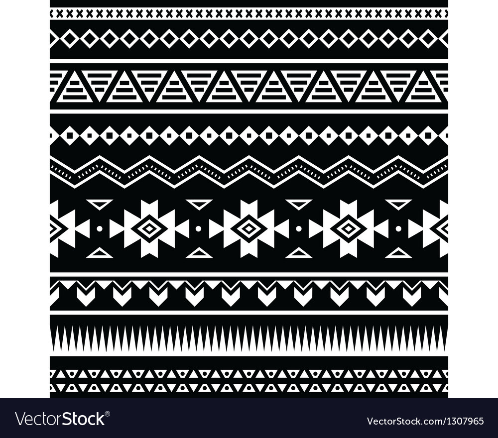 Aztec seamless pattern tribal black and white vector | Price: 1 Credit (USD $1)