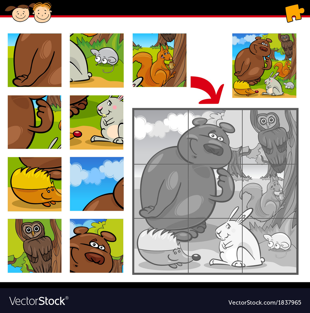 Cartoon animals jigsaw puzzle game vector | Price: 1 Credit (USD $1)