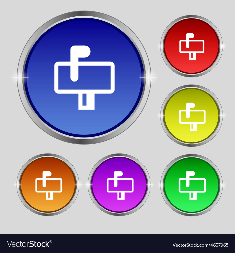 Mailbox icon sign round symbol on bright colourful vector | Price: 1 Credit (USD $1)