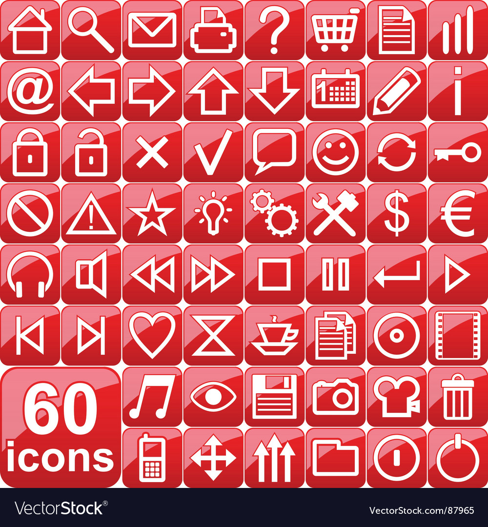 Red icons vector | Price: 1 Credit (USD $1)