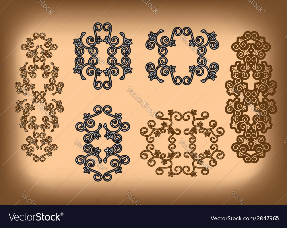 Set - floral symmetrical ornaments vector | Price: 1 Credit (USD $1)