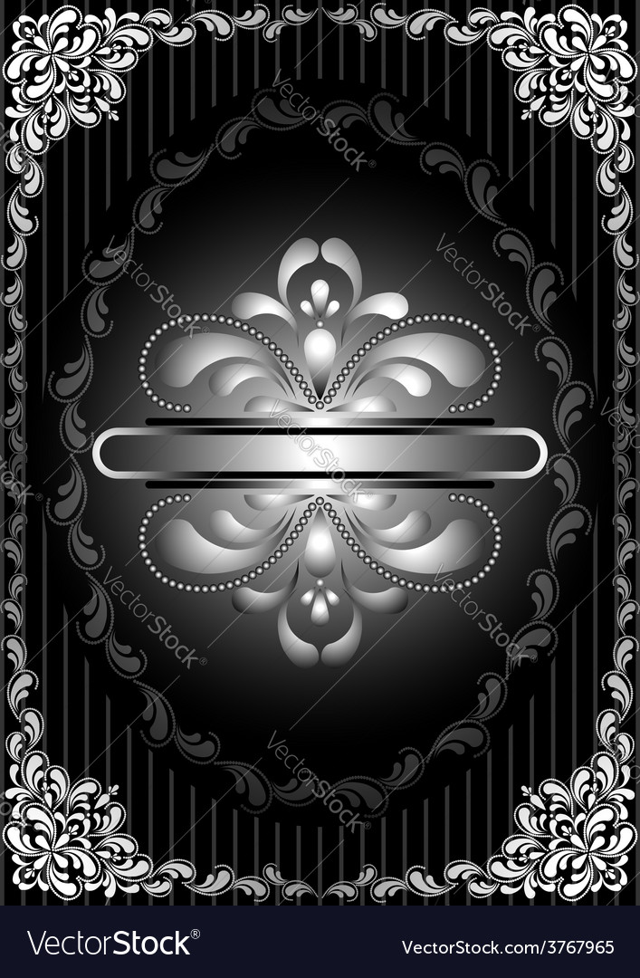 Silver frame with openwork decor on striped black vector | Price: 1 Credit (USD $1)