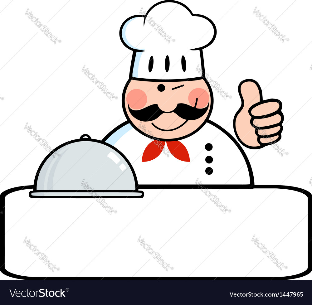 Winked chef banner with platter vector | Price: 1 Credit (USD $1)