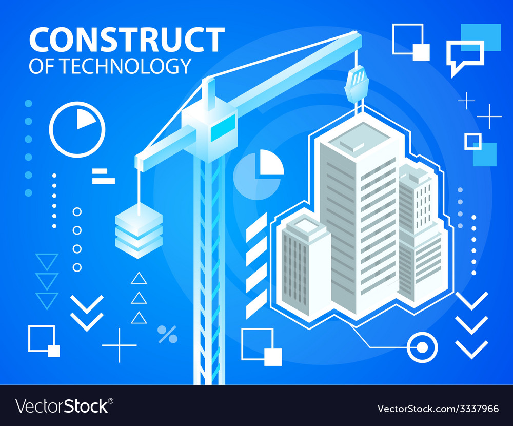 Bright construct crine and buildings on blue vector | Price: 3 Credit (USD $3)
