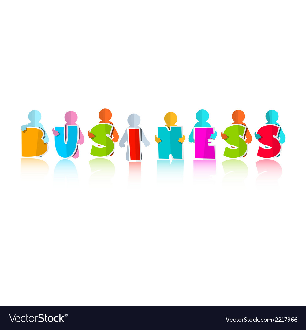 Business colorful title with paper people vector | Price: 1 Credit (USD $1)
