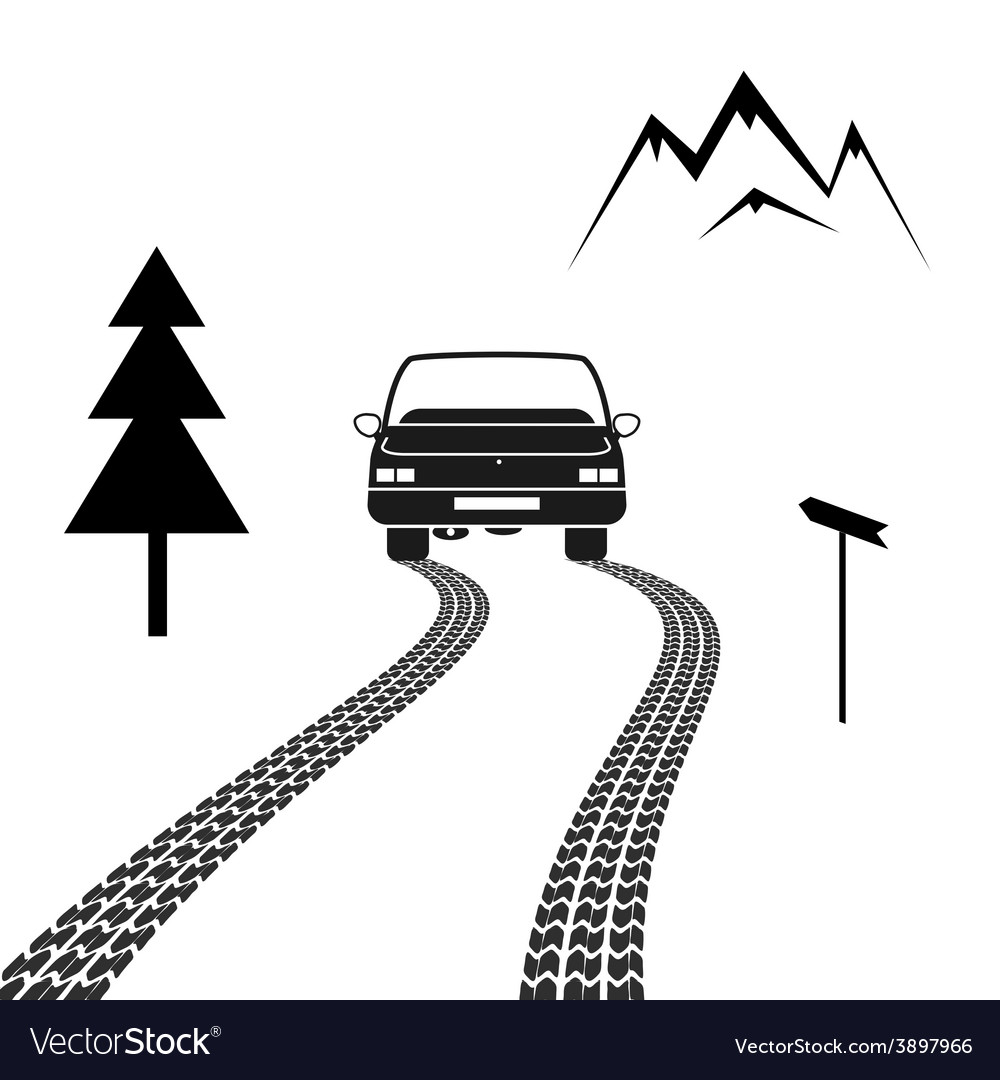 Car driving on a mountain road with tire tracks vector | Price: 1 Credit (USD $1)