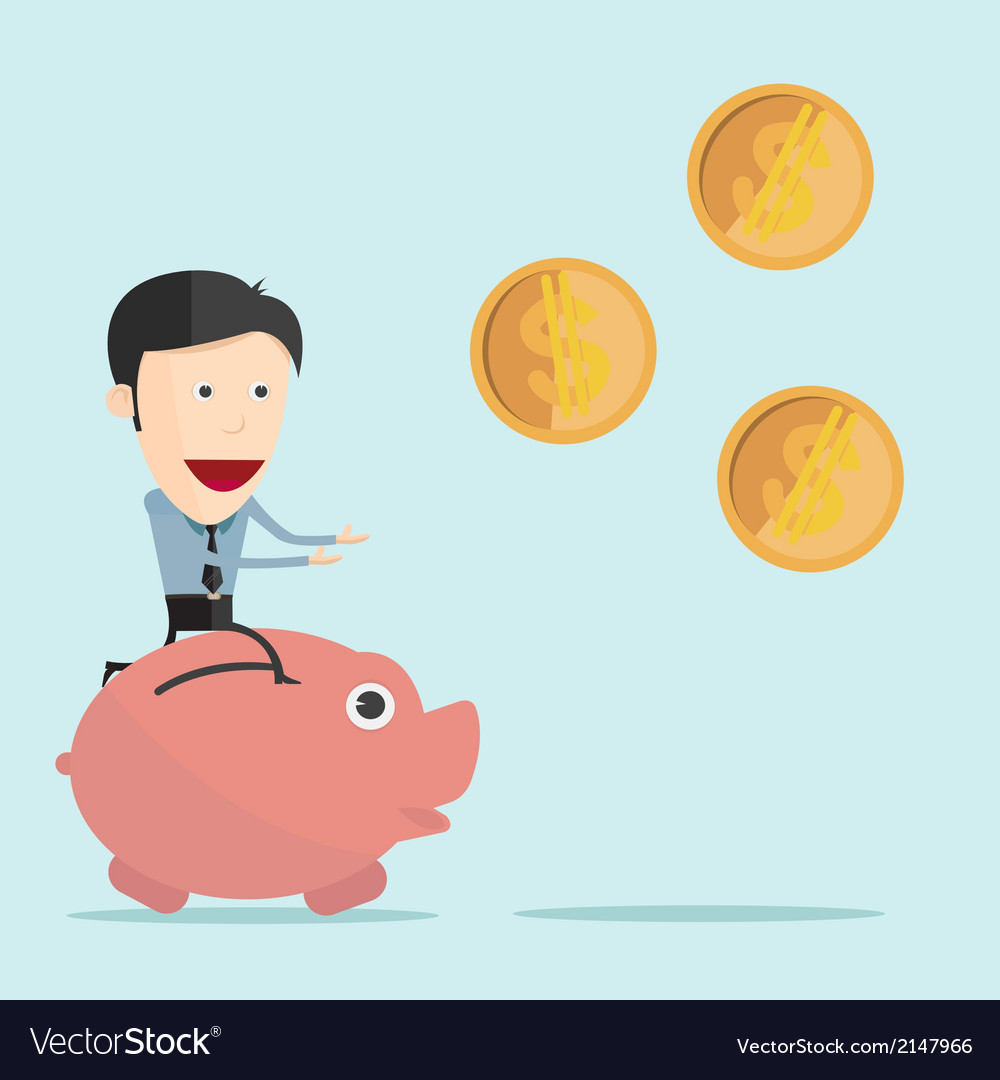 Cartoon piggy bank in flat design vector | Price: 1 Credit (USD $1)