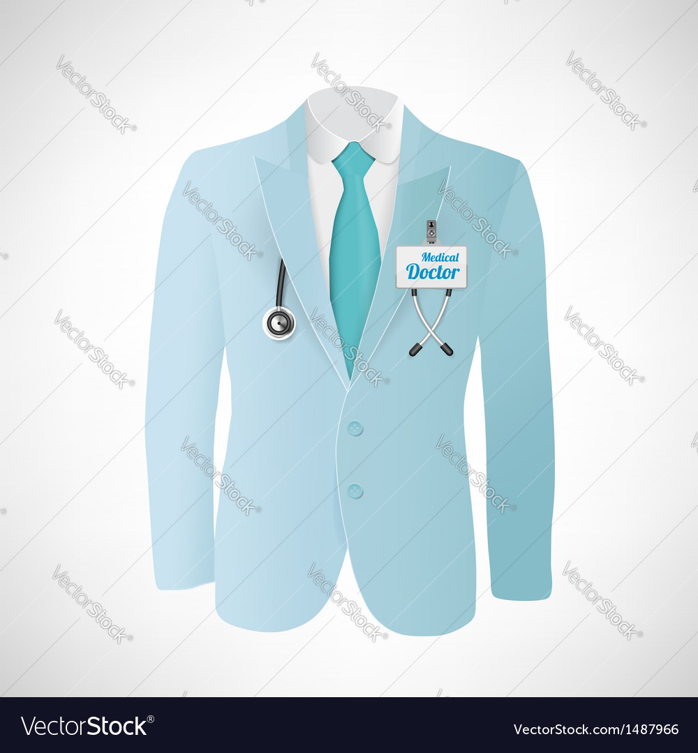 Close up of a doctors lab blue coat vector | Price: 1 Credit (USD $1)