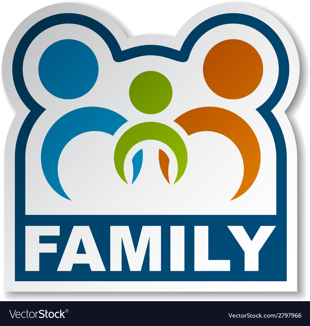 Family joined people sticker vector | Price: 1 Credit (USD $1)