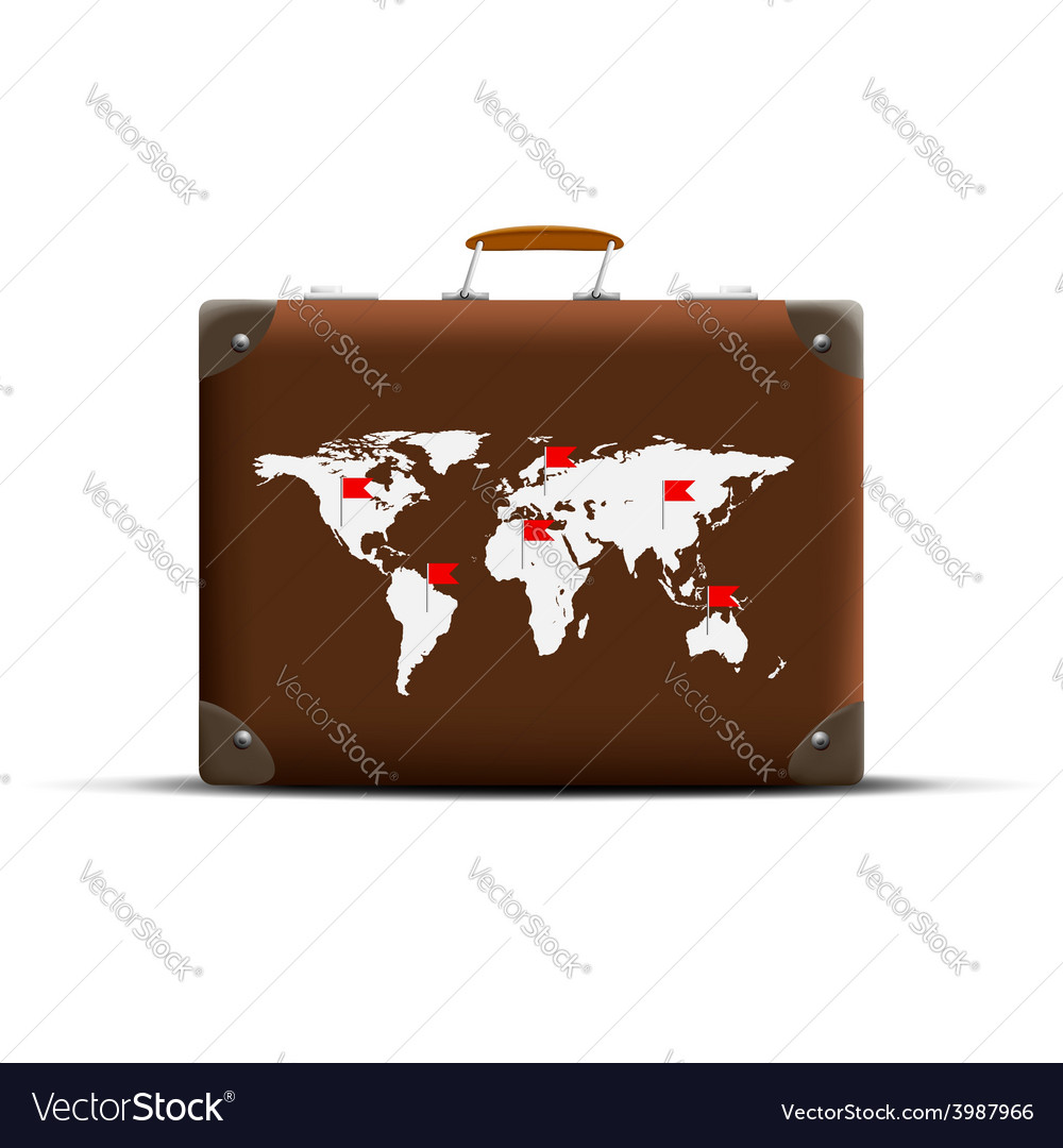 Map of earth on a brown suitcase vector | Price: 1 Credit (USD $1)