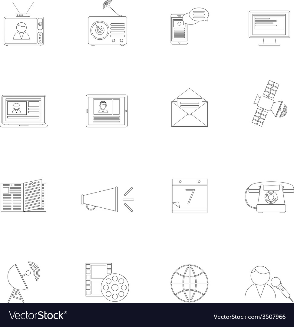 Media icons outline set vector | Price: 1 Credit (USD $1)