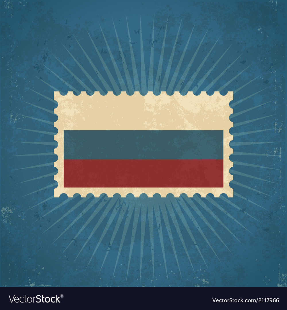 Retro russia flag postage stamp vector | Price: 1 Credit (USD $1)