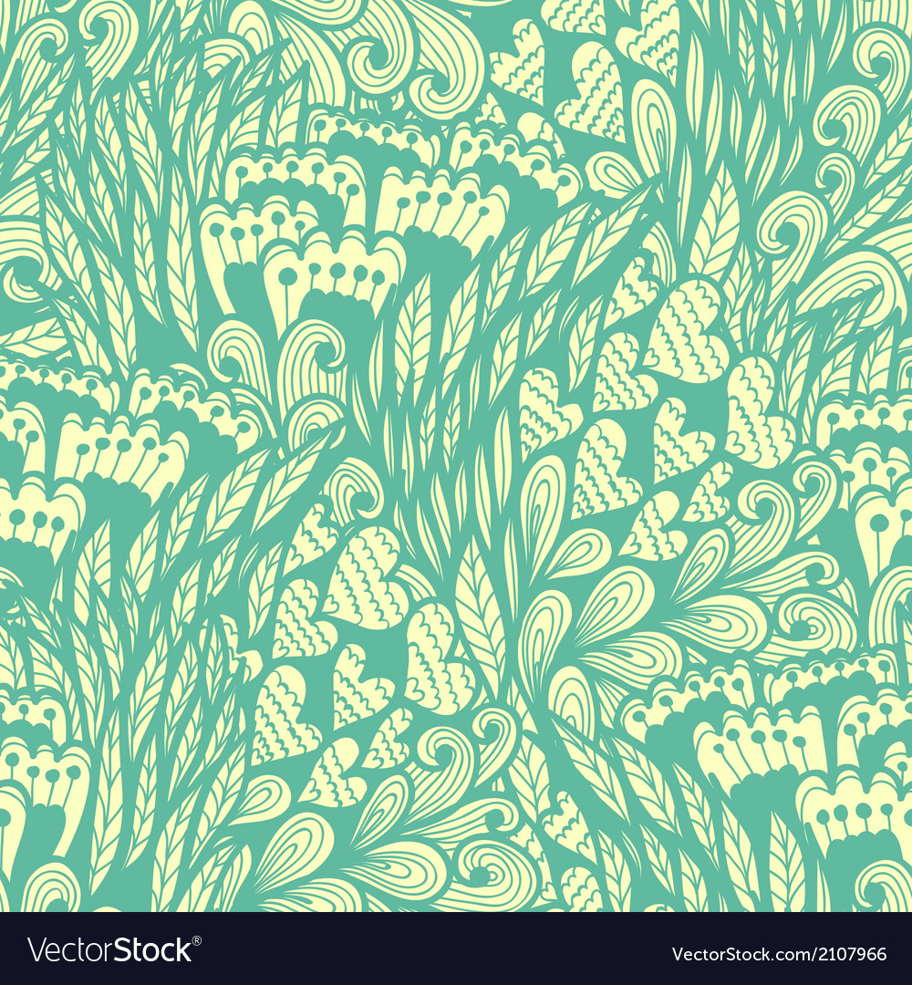 Seamless hand drawn vintage blue doodle pattern vector | Price: 1 Credit (USD $1)