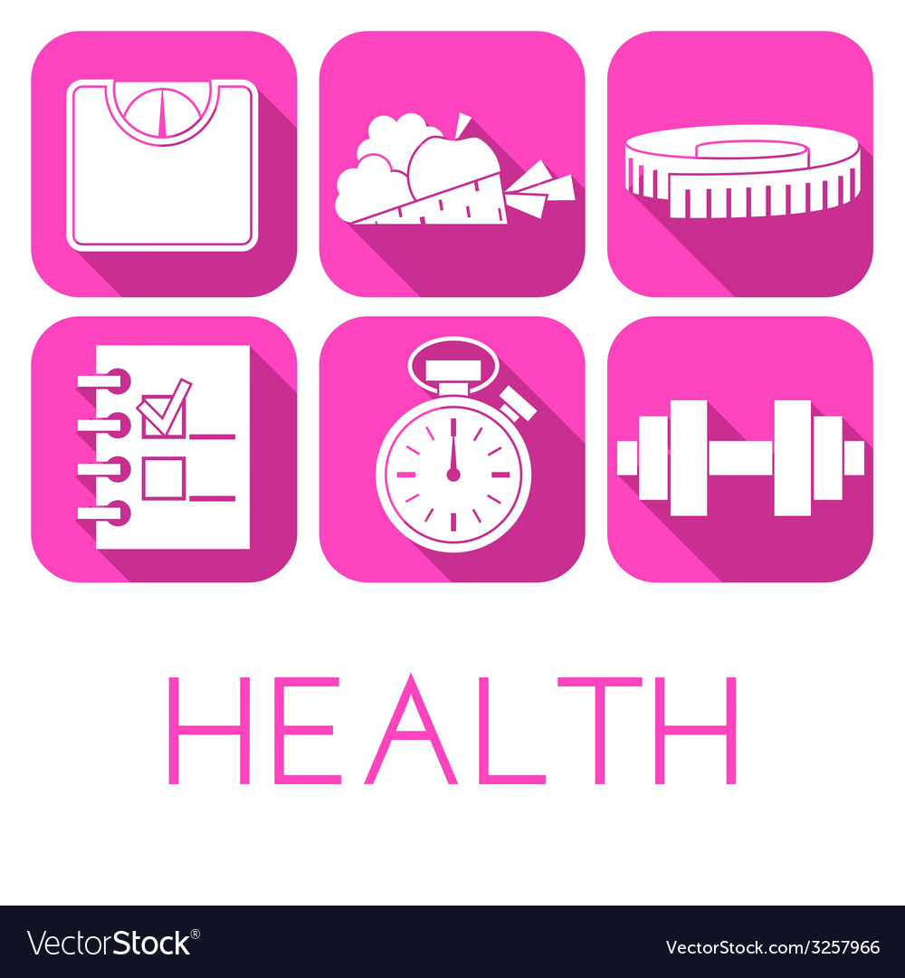 Set of health icon in flat style vector | Price: 1 Credit (USD $1)