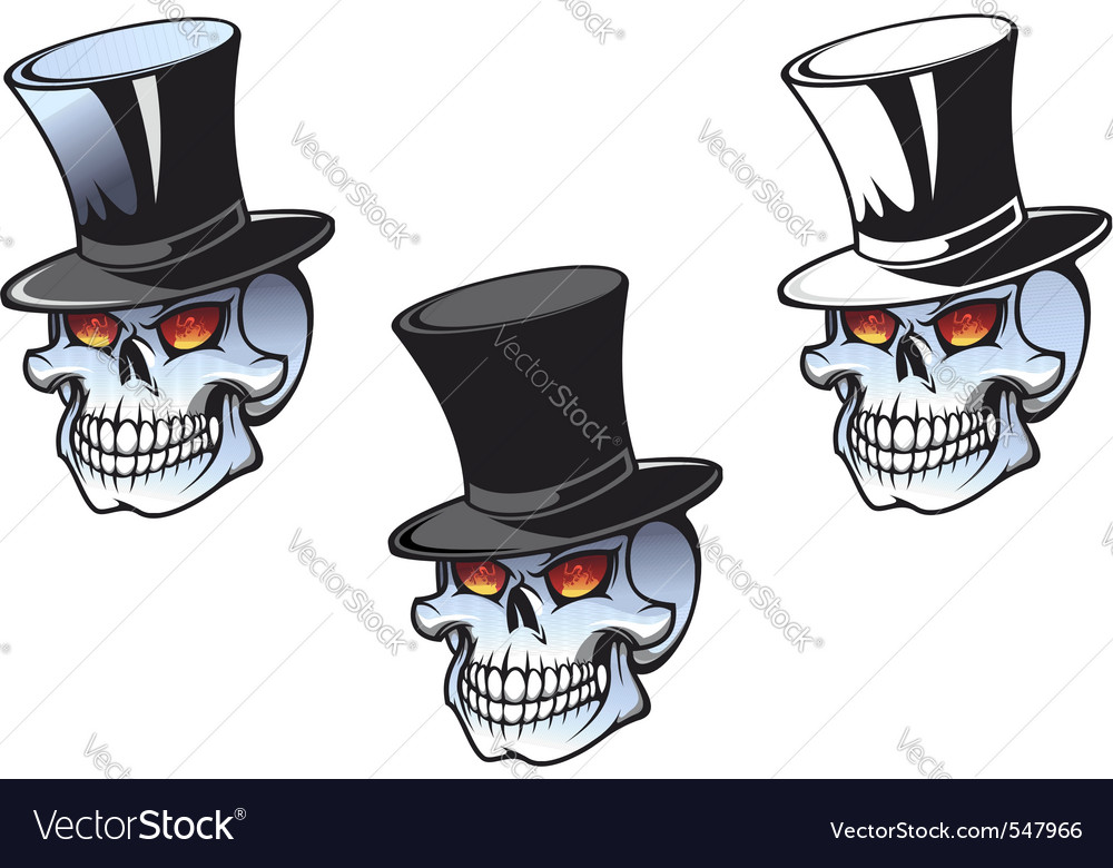 Skull in top hat vector | Price: 1 Credit (USD $1)